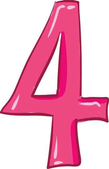 Clipart of the numerical number four or 4 in pink color vector o