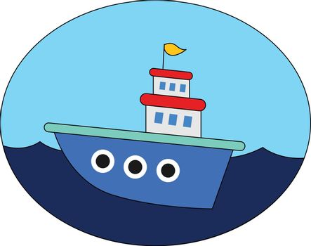 A beautiful blue cartoon ship over blue background vector or col
