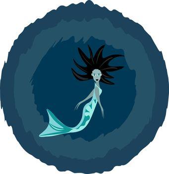 Portrait of a mermaid/Siren vector or color illustration