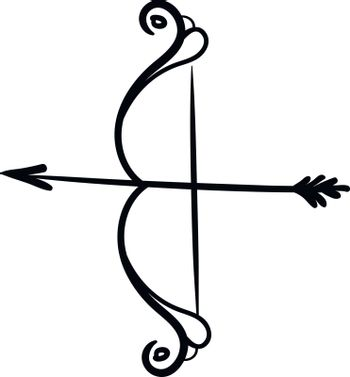 Silhouette of bow and arrow vector or color illustration