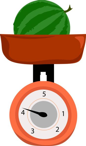 Clipart of a whole watermelon weighed on weighing scale vector o