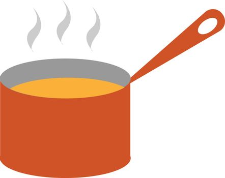 Clipart of steaming soup from a giant red saucepan vector or col