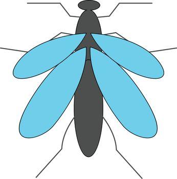 Cartoon grey mosquito vector or color illustration