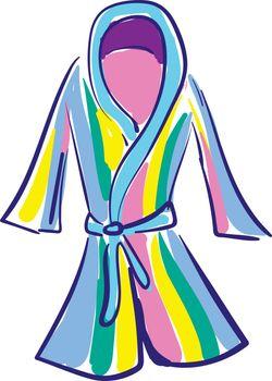 Clipart of a showcase multi-colored bathrobe over white backgrou