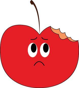 Emoji of a sad half-bitten apple vector or color illustration