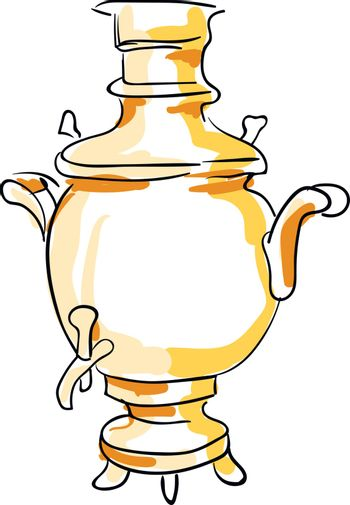 Sketch of a samovar set on isolated white background vector or c