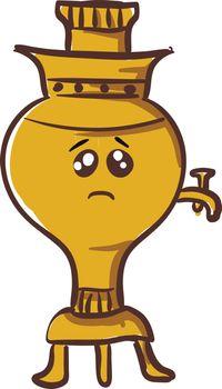 Emoji of a sad samovar vector or color illustration