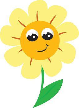 A smiling sunflower vector or color illustration