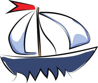 Clipart of a blue-colored yacht set on isolated white background