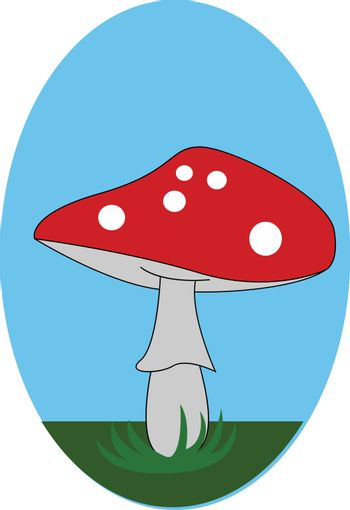 A cute little red-colored mushroom vector or color illustration