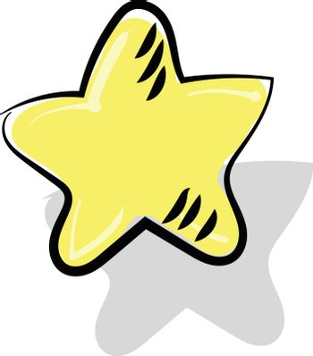 Painting of a yellow-colored star vector or color illustration
