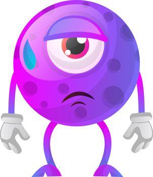 Tired one eyed monster illustration vector on white background