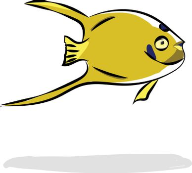 Painting of a yellow-colored fish vector or color illustration