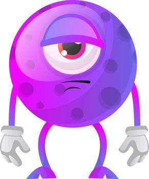 Bored one eye purple monstre illustration vector on white backgr