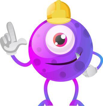 Construction worker purple monster illustration vector on white