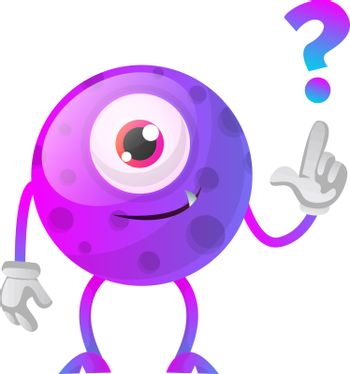 Purple monster with a question sign illustration vector on white