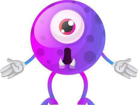 Purple monster wondering what happened illustration vector on wh