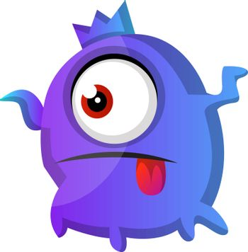 One eyed purple monster with tongue out illustration vector on w