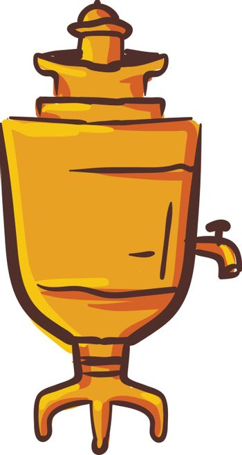 Clipart of brown-colored samovar vector or color illustration