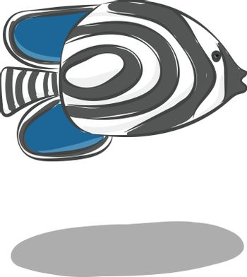 Clipart of the zebra fish with black stripes vector or color ill