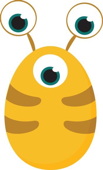 Clipart of yellow-colored monster with three bulging eyes vector