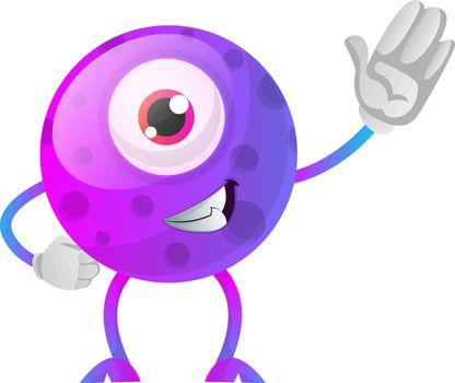 One eyed purple monster waving illustration vector on white back