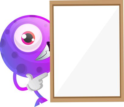 One eyed purple monster hiding behind a paper panel illustration