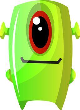 One eyed green monster illustration vector on white background