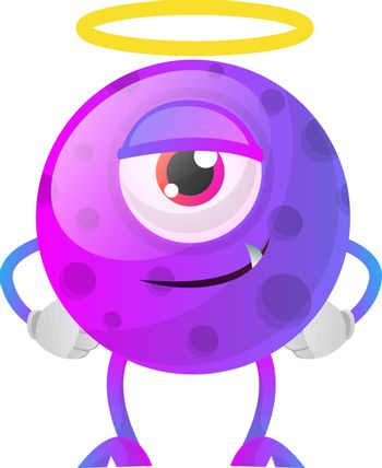 One eyed purple monster from paradise illustration vector on whi