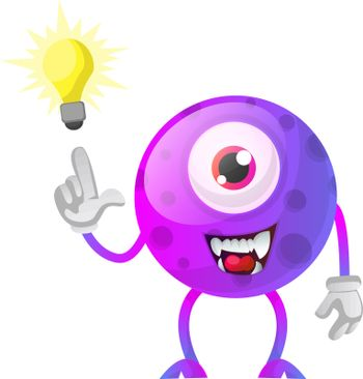 Purple monster have a solution illustration vector on white back