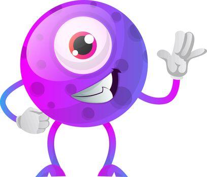 Cool one eyed purple monster waving illustration vector on white