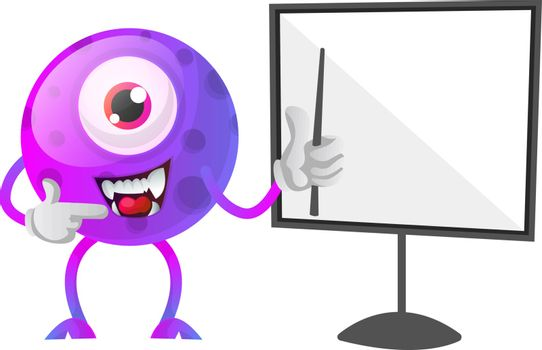 One eyed purple monster showing how to draw on a board illustrat