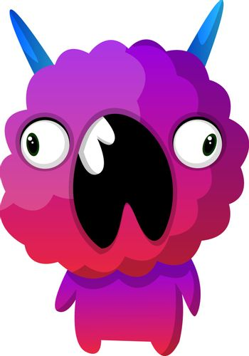 Purple monster with mouth wide opened illustration vector on whi
