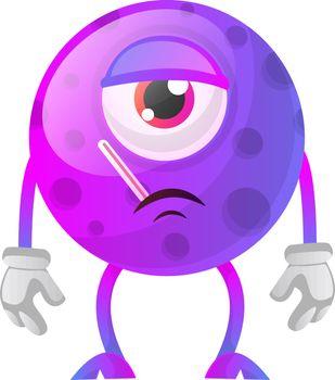 One eyed sick purple monster illustration vector on white backgr