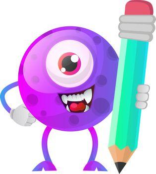 One eyed purple monster holding a huge pen illustration vector o