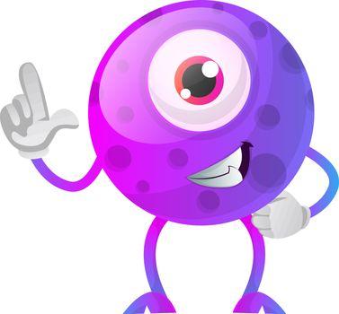 One thumbs up purple monster illustration vector on white backgr