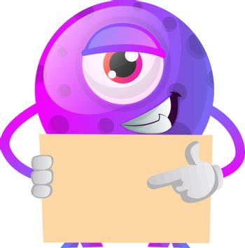 One eyed monster showing something on a paper illustration vecto