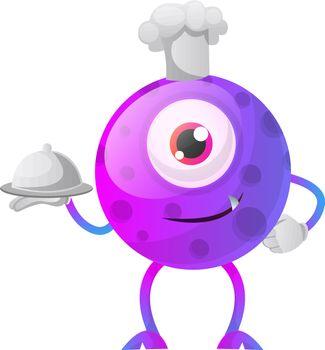 One eyed purple monster chef illustration vector on white backgr