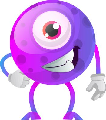 Chill out purple monster with one eye illustration vector on whi