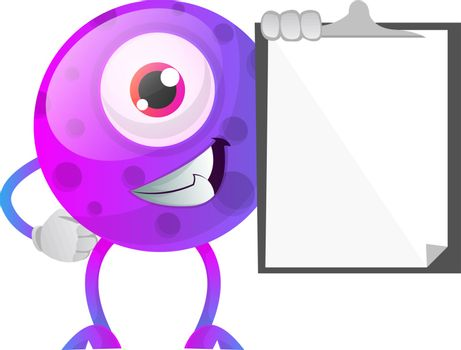 Smiling one eyed monster holding a notepad illustration vector o