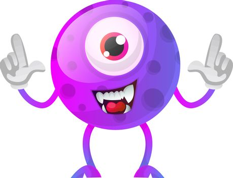 One eyed purple monster with hands in the air illustration vecto