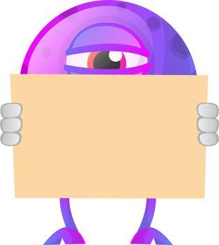 One eyed porple monster behind paper illustration vector on whit