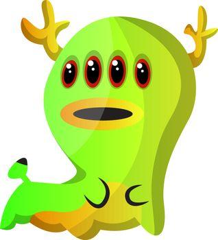 Green four eyed monster illustration vector on white background