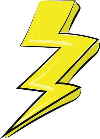 Painting of the lightning, vector or color illustration