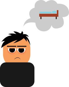 boy feeling fatigue , vector or color illustration