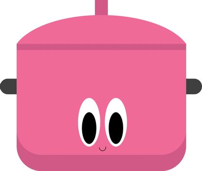 Emoji of a smiling saucepan in lovely pink, vector or color illu