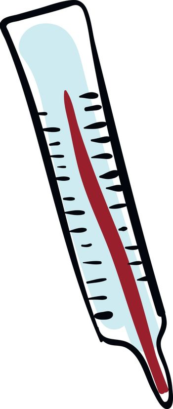 Pencil drawing of a thermometer over white background, vector or