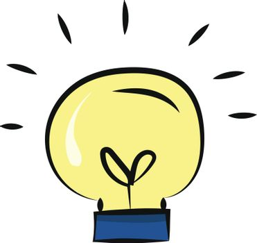 Painting of a lightbulb, vector or color illustration