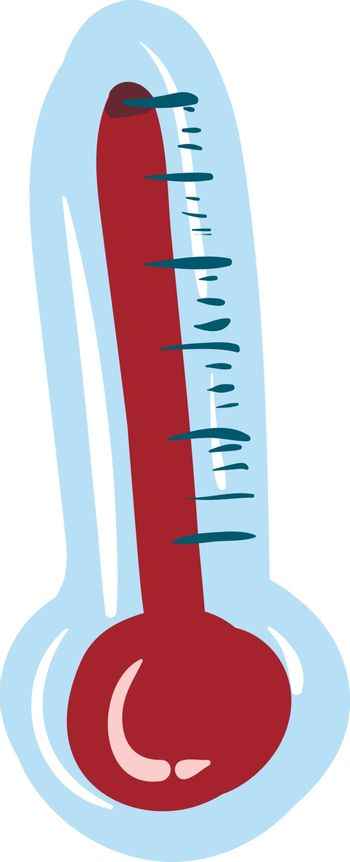 Drawing of a big blue thermometer with a white exclamation mark,
