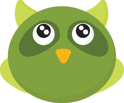 A small cute owl in green colour with large eyes , vector, color drawing or illustration.